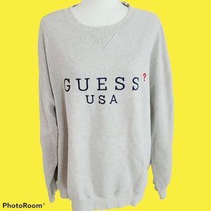 Vintage Guess Gray Crewneck Sweatshirt Distressed